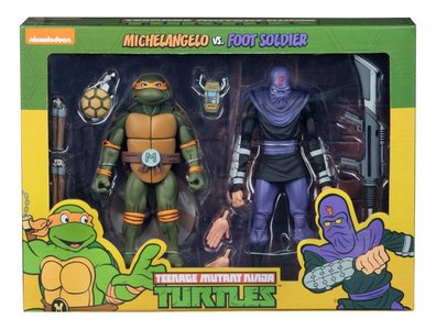 Neca actiefiguur - Actie Teenage Mutant Ninja Turtles Cartoon 54080 Michelangelo vs. Foot Soldier